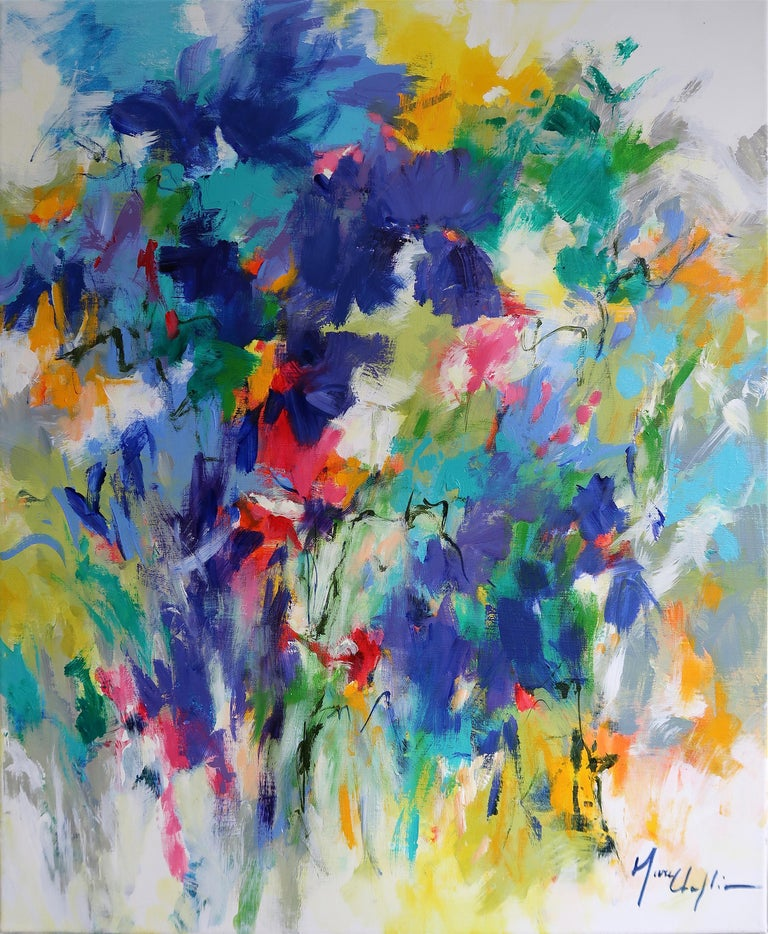 Mary Chaplin Abstract Painting - Blue Spring abstract original landscape painting Contemporary Art 21st Century