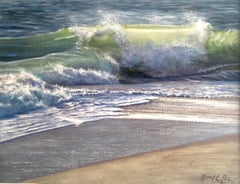 Blues VI - ocean wave seascape painting Contemporary Art oil realistic French