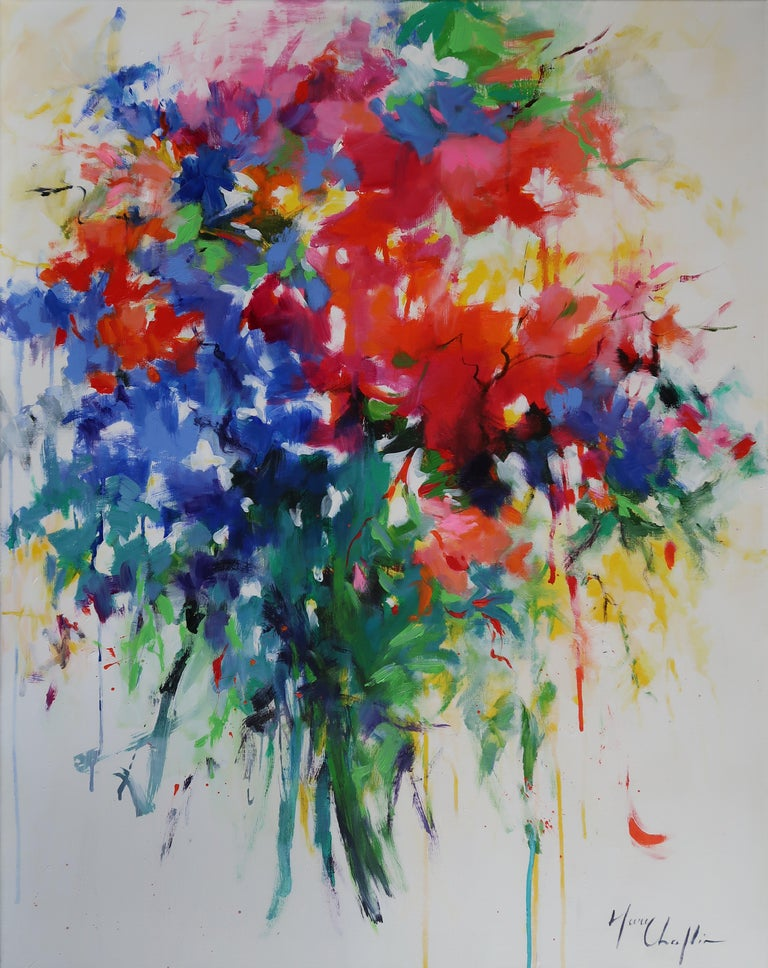 Mary Chaplin Abstract Painting - Bohemian Bouquet abstract floral landscape painting Contemporary Art 21st Centur