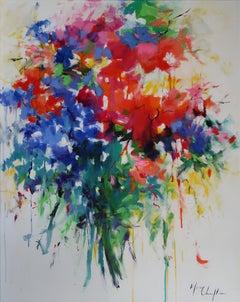 Bohemian Bouquet - floral nature still landscape oil painting Contemporary art