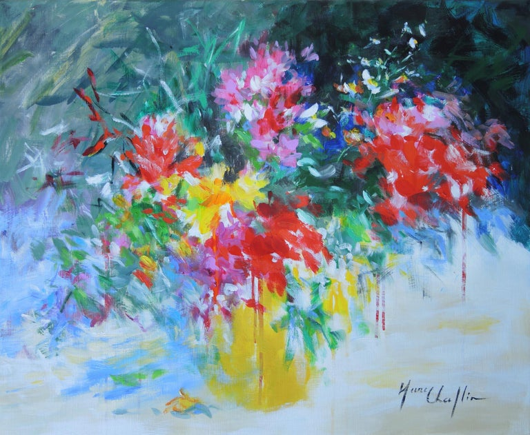 Bouquet In A Yellow Vase Floral Art Colourful Abstract Painting On Canvas
