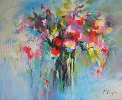 Bouquet of joy BY MARY CHAPLIN, Flower Art, Still Life Painting, Bright Art