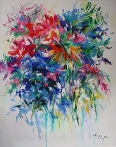 Bouquet with Crown Imperial Lily abstract floral landscape painting