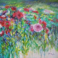Dahlias, autumn splendor, colourful flower landscape painting , pink , green