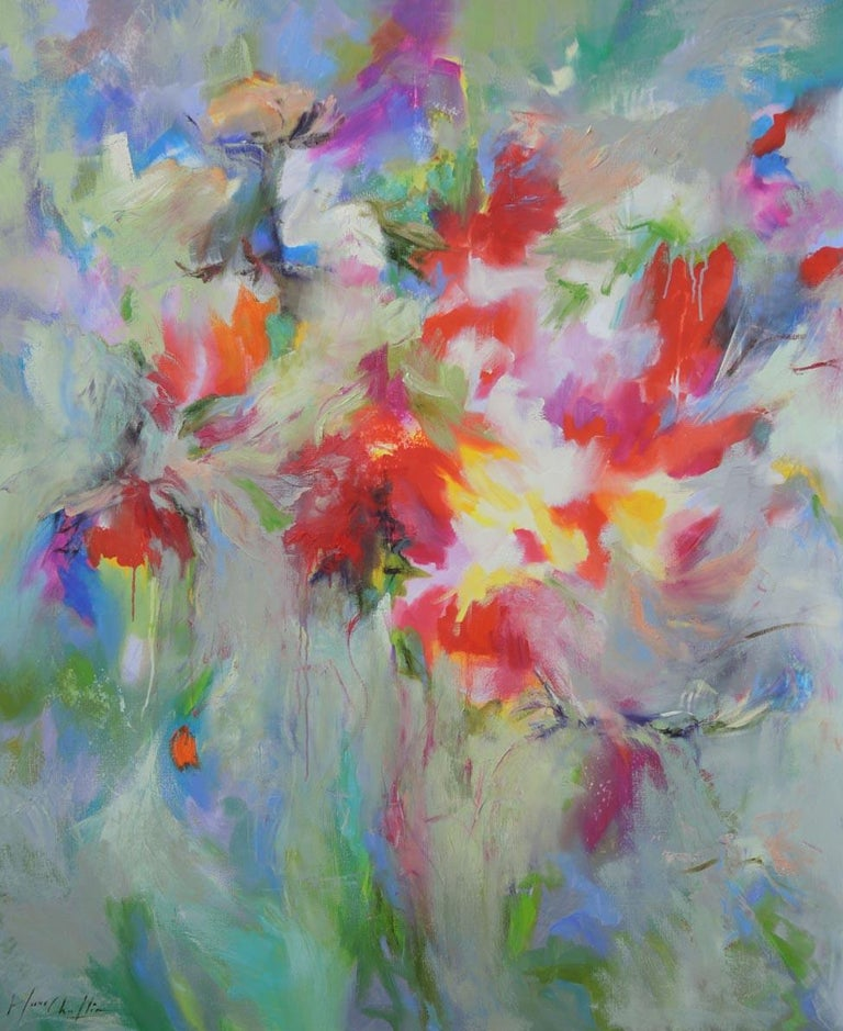 Dreamed Garden, a colourful abstract painting of flowers in France, abstract art - Painting by Mary Chaplin