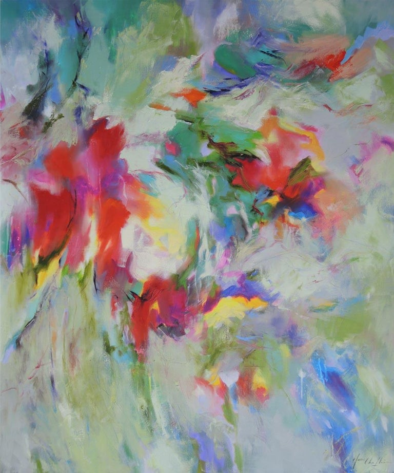 Dreamed Garden, a colourful abstract painting of flowers in France, abstract art - Contemporary Painting by Mary Chaplin