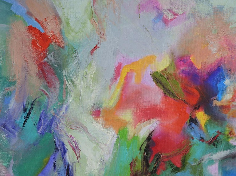 Mary Chaplin, Dreamed garden, diptych, 2x100x120cm, oil paint on linen canvas.  Not framed but ready to be hung. Signed 'Mary Chaplin' in the right hand corner of the canvas.   An abstract expressionist painting of old roses near a stone wall seen