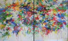 Flower Song, Large Diptych Original Colourful Floral landscape painting