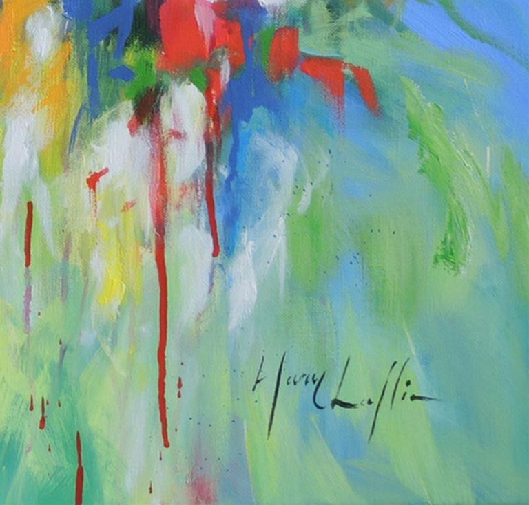 Flowers by the Riverside, abstract flower painting, blue , yellow, red and green - Painting by Mary Chaplin