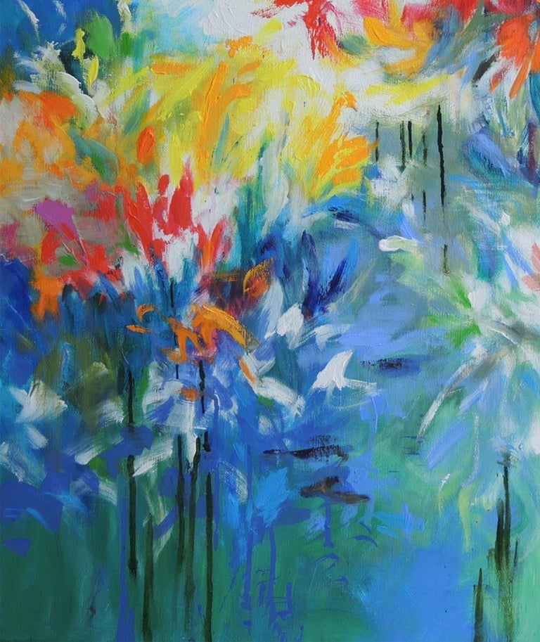 Flowers by the Riverside, abstract flower painting, blue , yellow, red and green - Abstract Impressionist Painting by Mary Chaplin
