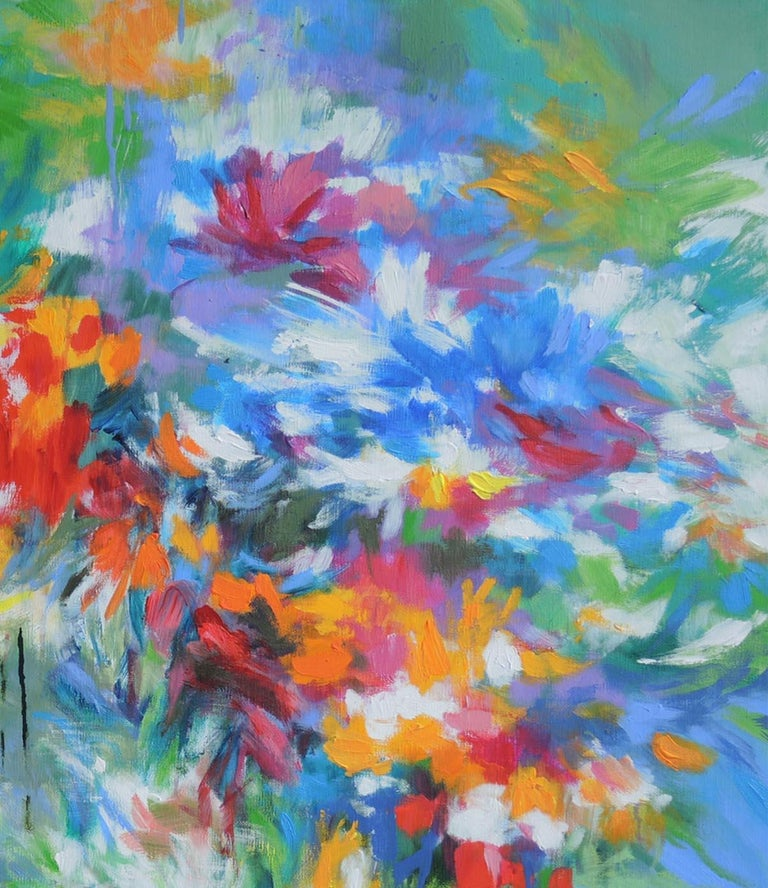 Flowers by the Riverside, abstract flower painting, blue , yellow, red and green - Blue Abstract Painting by Mary Chaplin