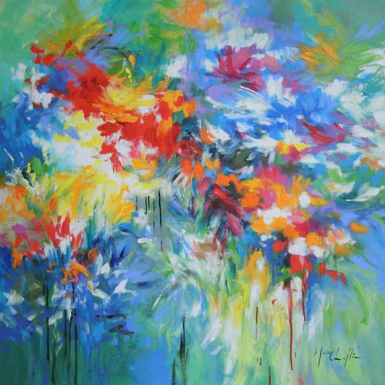 Mary Chaplin Abstract Painting - Flowers by the Riverside, abstract flower painting, blue , yellow, red and green