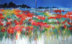 Impending Summer Storm, abstract impressionist, original landscape painting