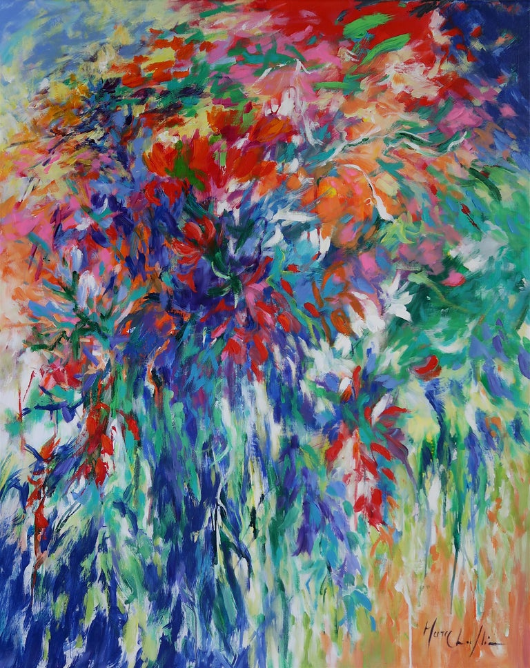 Mary Chaplin Abstract Painting - Into the Breeze abstract floral landscape painting Contemporary Art 21st Century