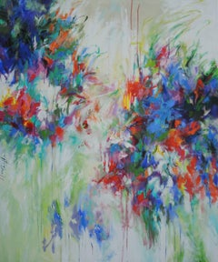It Rained in May, a floral abstract painting with colour