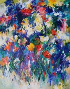 Mary Chaplin, April breeze, Bright Floral Art, Original Still Life Painting