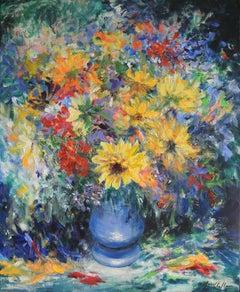 Mary Chaplin, Autumn Glory, Original Still Life Painting, Affordable Art