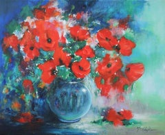 Mary Chaplin, Bouquet of Wild Poppies, Original Floral Painting, Still Life Art