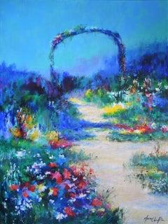 Mary Chaplin, Full sun in Claude Monet's garden, Original Floral Painting