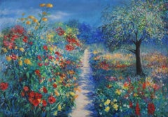 Mary Chaplin, Magical Light in Monet's Garden in Givern, Floral painting