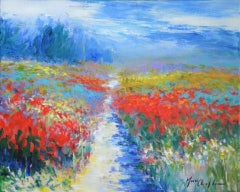 Mary Chaplin, On a Summer Afternoon, Original Impressionist Painting, Floral Art