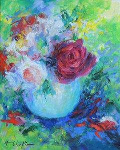 Mary Chaplin, Roses in an Opaline Vase, Original Still Life Painting