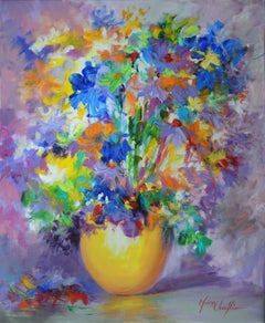 Mary Chaplin, September Glory, Bouquet in a Yellow Vase, Still Life Floral Art