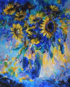 Mary Chaplin, Sun Flowers in Blue, Tribute to Vincent Van Gogh, Floral Art