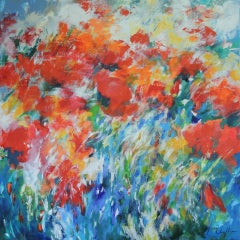 Oriental Poppies in the Summer Wind, Mary Chaplin, Contemporary ImpressionistArt