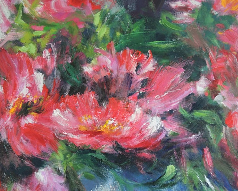 Peonies after the shower, a pink and white floral painting - Painting by Mary Chaplin
