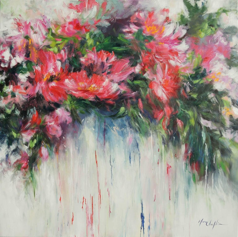 Mary Chaplin Abstract Painting - Peonies after the shower, a pink and white floral painting