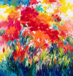 Poppies in full sun, Mary Chaplin large abstract flower painting for sale