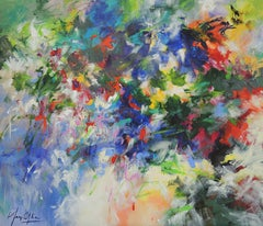 Rainy June, flower abstract impressionist artist, colourful flowerbed