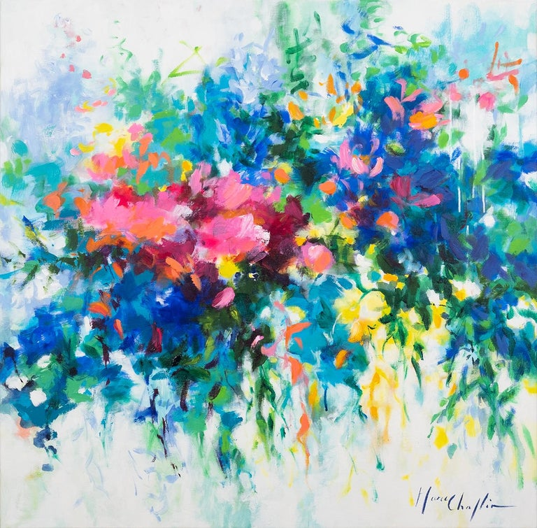 Mary Chaplin Abstract Painting - Spring abstract original landscape painting Contemporary Art 21st Century