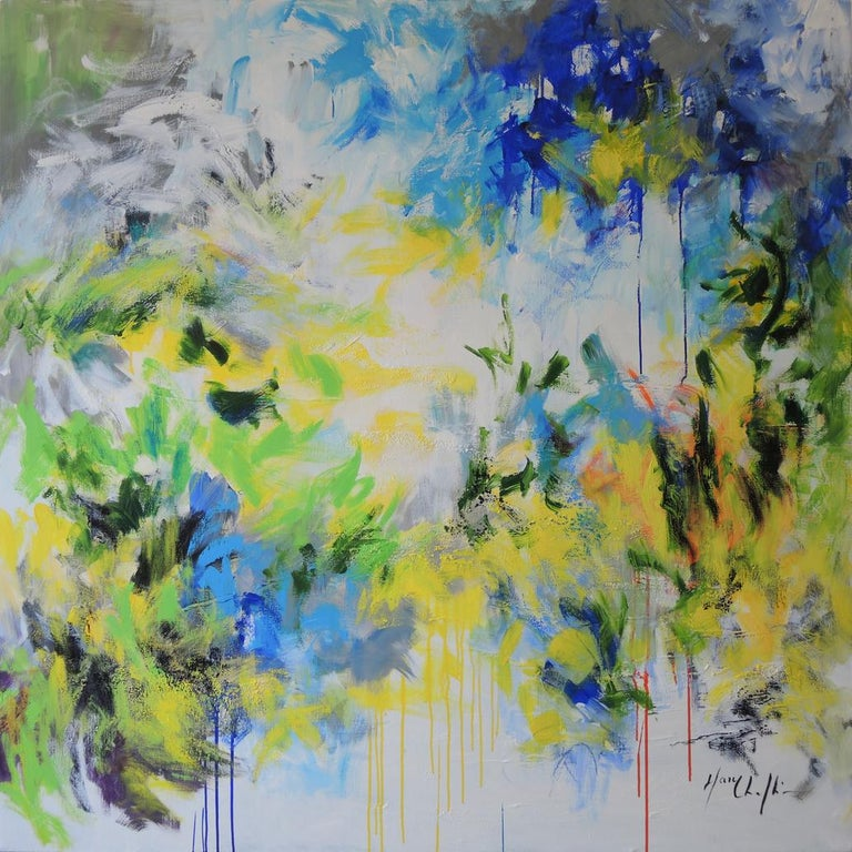 Mary Chaplin Abstract Painting - Spring in North Yorkshire Moors, abstract impressionist landscape, original art