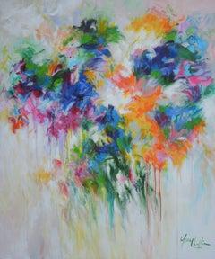 Tears of the Garden, bouquet of flowers, abstract art, wall art colourful art