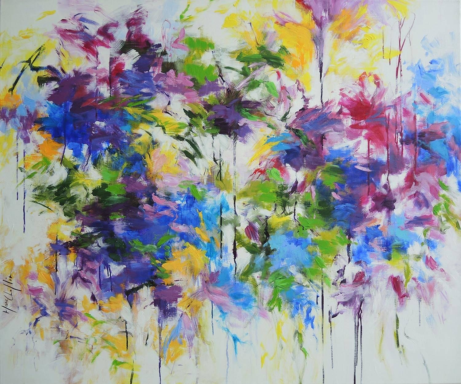The Era of Flowers, bright and bold abstract painting