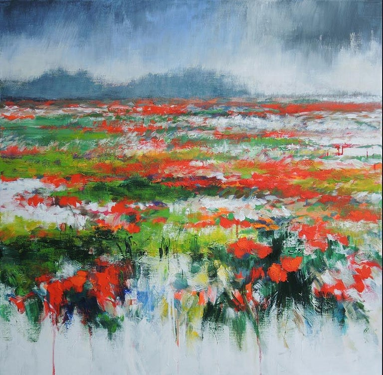 The sun always comes back... diptych, landscape in Picardy, France. - Abstract Impressionist Painting by Mary Chaplin