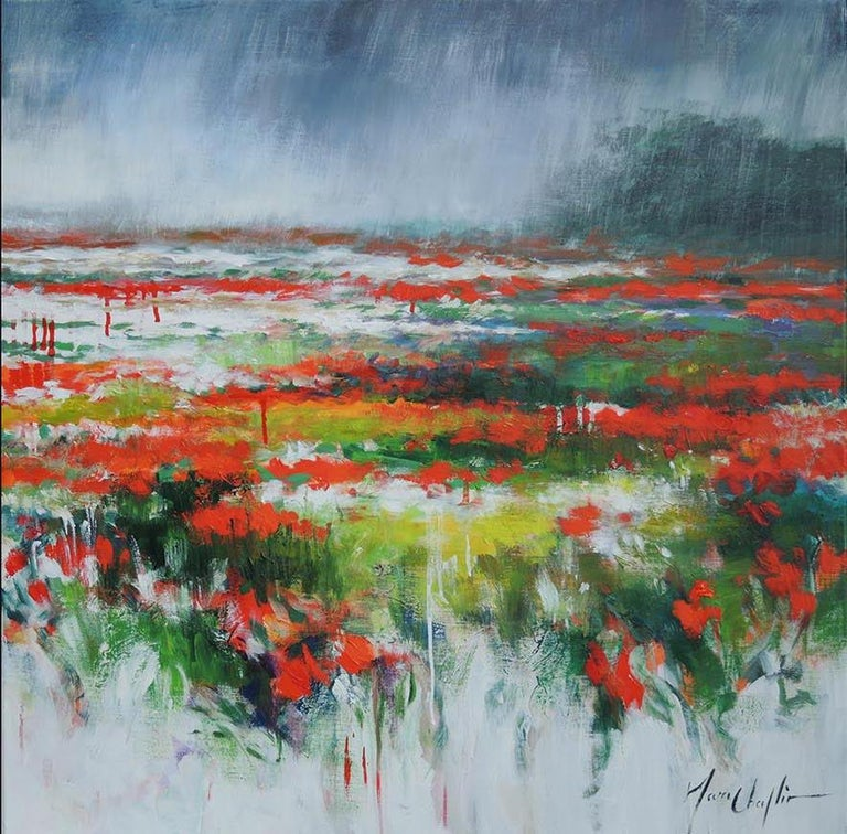 The sun always comes back... diptych, landscape in Picardy, France. - Gray Abstract Painting by Mary Chaplin