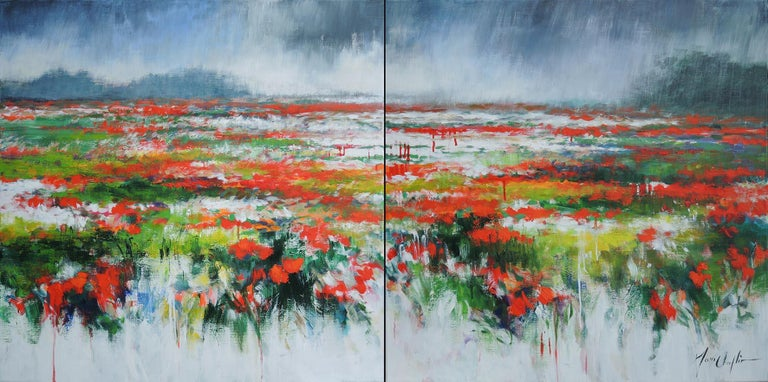 Mary Chaplin Abstract Painting - The sun always comes back... diptych, landscape in Picardy, France.