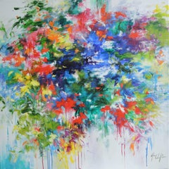 Through the mist of my memory 2, colourful flowers , red, blue , contemporary
