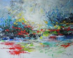 Walking along the banks of my memories, large abstract painting, Mary Chaplin
