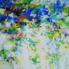 When The Swallows Are Back, MARY CHAPLIN, Floral Art, Abstract Painting, Bright