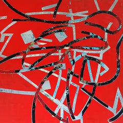 """Mary Didoardo """"Kinetic Energy"""" Abstract Oil Painting on Wood Panel"""