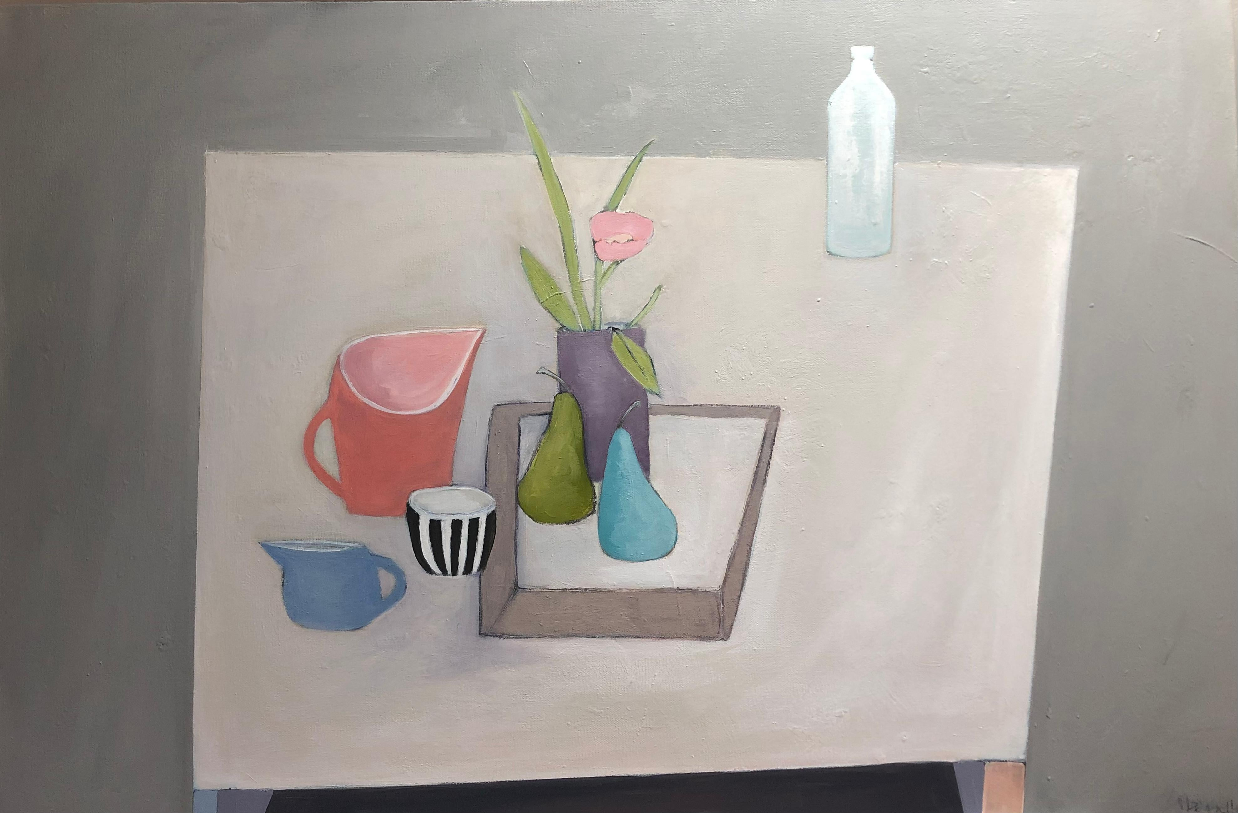 Black/White striped cup and pears - Still Life Painting