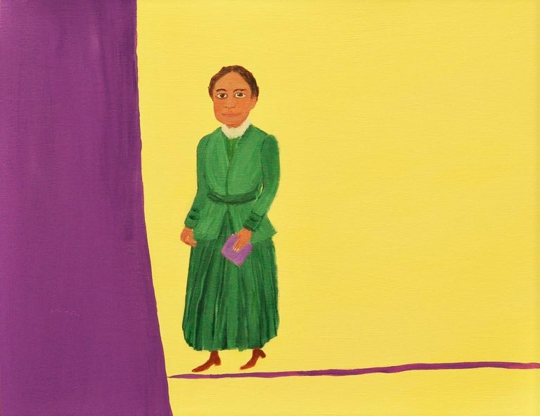 Mary Dwyer, Elizabeth Cady Stanton, Mother and Suffragist, 2016, Acrylic Paint - Yellow Figurative Painting by Mary Dwyer