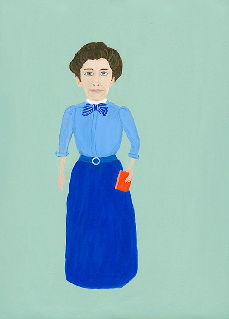 Mary Dwyer, Nellie Bly, 2017, watercolor on paper, Suffragists and Journalists - Pink Figurative Painting by Mary Dwyer
