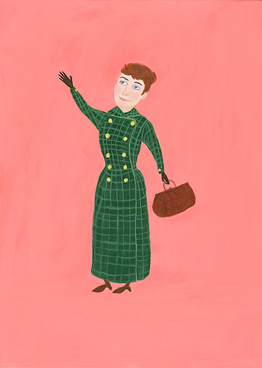 Mary Dwyer, Nellie Bly, 2017, watercolor on paper, Suffragists and Journalists