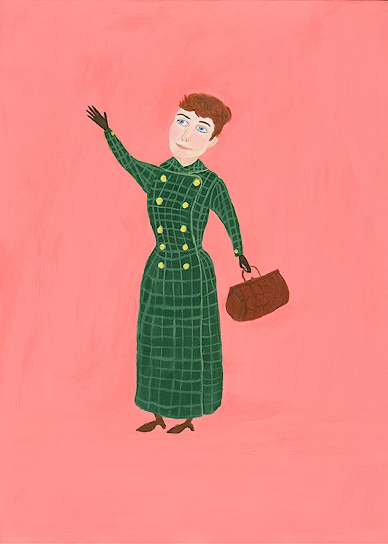 Mary Dwyer, Nellie Bly, 2017, watercolor on paper, Suffragists and Journalists - Painting by Mary Dwyer