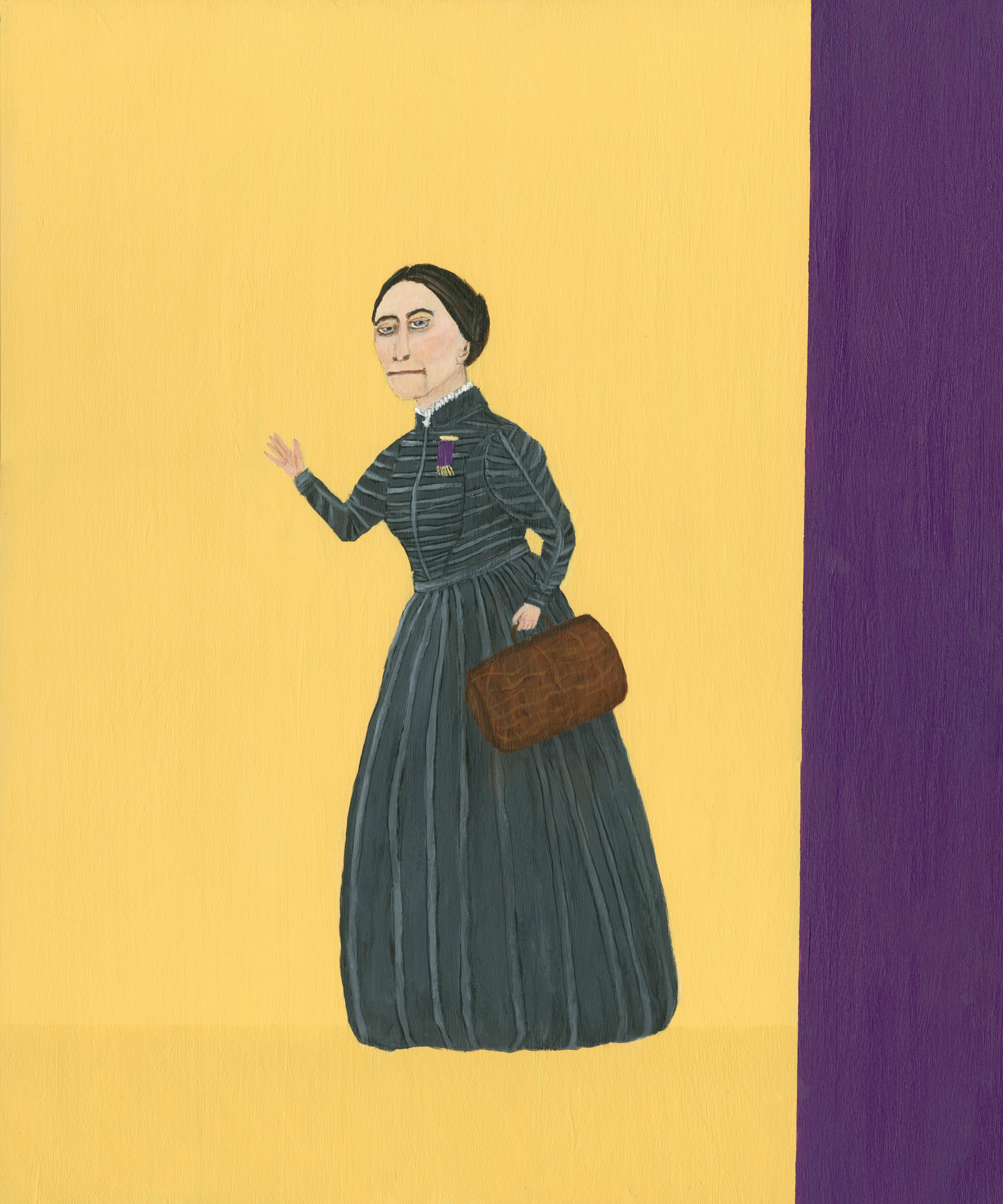 Mary Dwyer, Susan B. Anthony On the Road Again, 2014, Arcylic Paint, Wood Panel